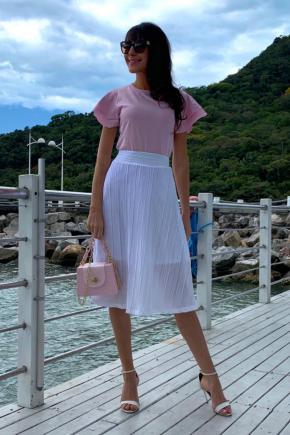 blusa malha saia plissada rosa prosa 3