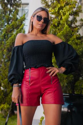 rosa prosa blusa lastex e short de couro ecologico 12